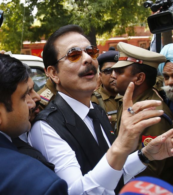 The Sahara group chairman Subrata Roy at the Supreme Court in New Delhi.