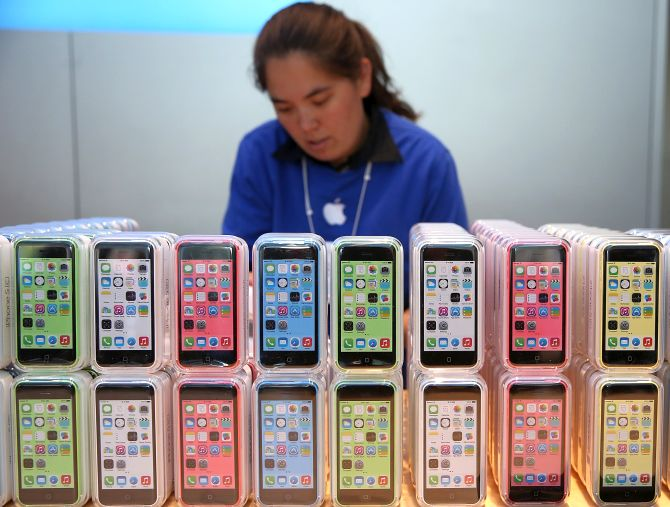 The new Apple iPhone 5C is displayed at an Apple Store.