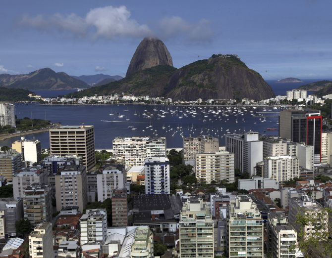 The Botafogo neighborhood is seen with the famous Sugar Loaf Mountain in the background in Rio de Janeiro.