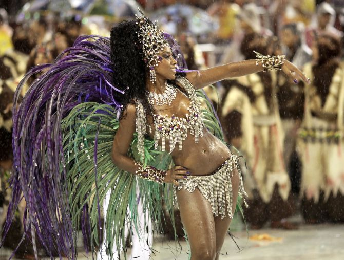 Drum Queen Cris Vianna of the Grande Rio samba school participates in the second night of the annual Carnival parade in Rio de Janeiro.