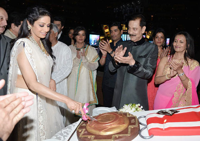 Sahara group chief Subrato Roy organised a bash for actress Sridevi to celebrate her Padma Shri award.