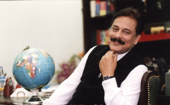 In happier times, Subrata Roy in his office.