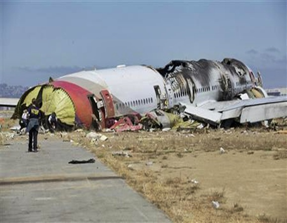 US National Transportation Safety Board (NTSB) photo shows the wreckage of Asiana Airlines Flight 214 that crashed at San Francisco International Airport in San Francisco.