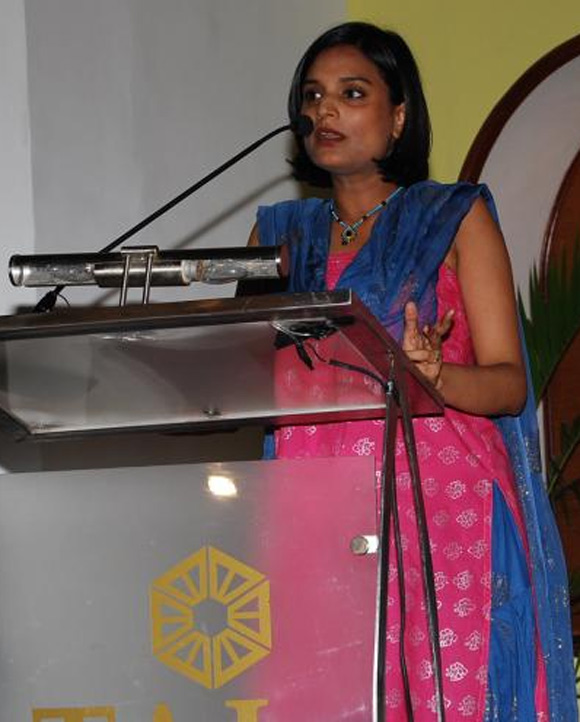 Pallavi S Aiyar at a book launch.