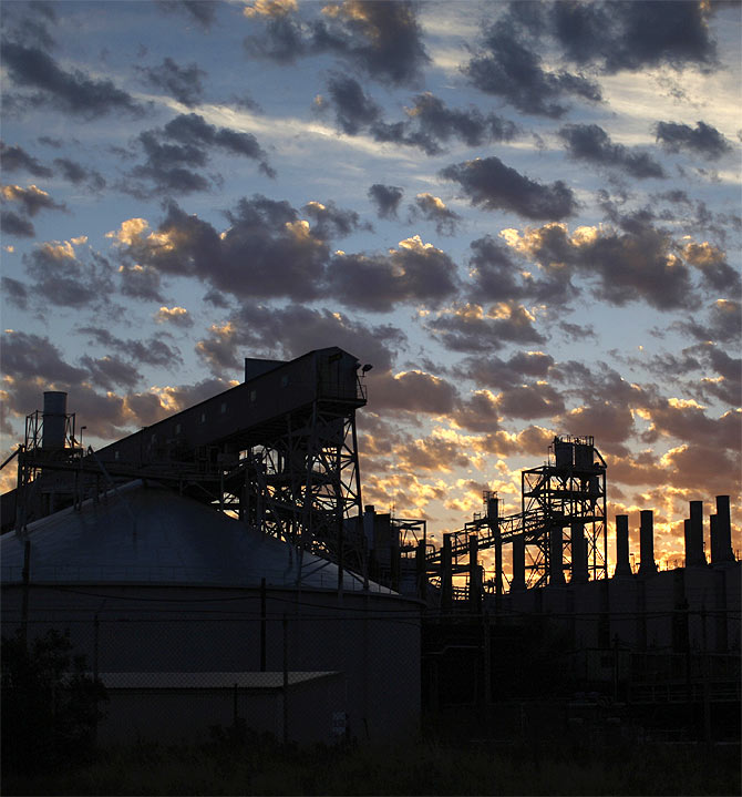 The Alcoa Aluminium Smelter is pictured before sunrise at Point Henry in Geelong.