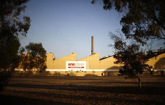 The old OneSteel wire mill is seen at sunset in Geelong.