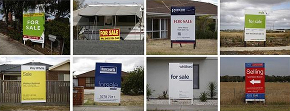 A combination picture shows residential properties advertised for sale in the suburban neighbourhoods of Geelong.