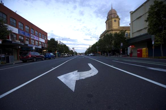 An arrow road-marking is seen painted on a thoroughfare in Geelong.