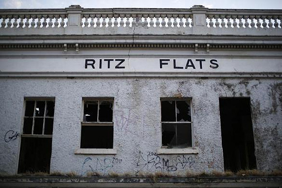 The Ritz Flats, part of an abandoned pub, stand in the main shopping area of Geelong.