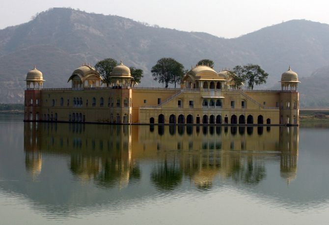 A general view of the Jal Mahal also known as Water Palace is seen in Jaipur.