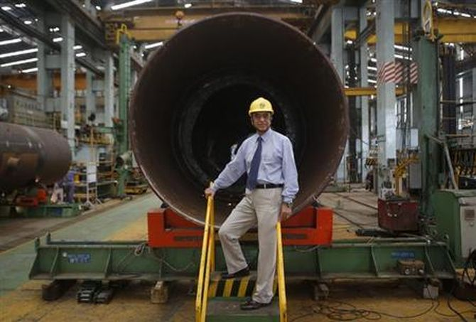 M. V. Kotwal, president of Larsen & Turbo Heavy Engineering, poses inside the company's manufacturing plant in Mumbai June 17, 2013.