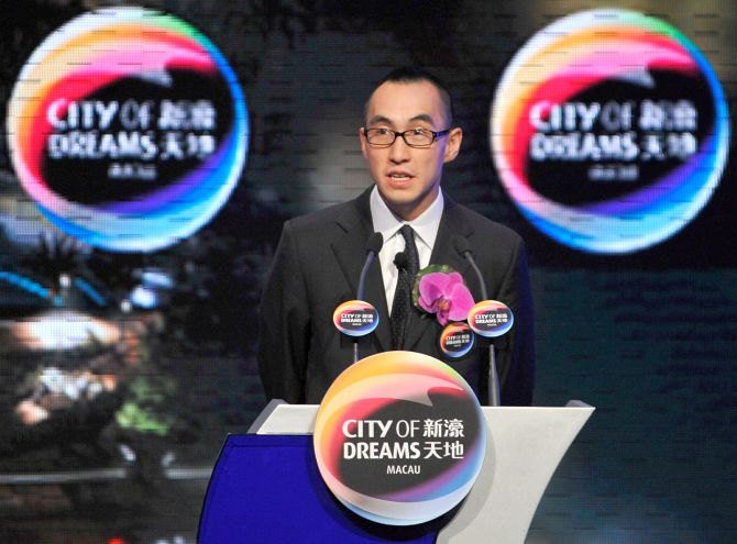CEO of 'City of Dreams' casino Lawrence Ho attends a news conference.