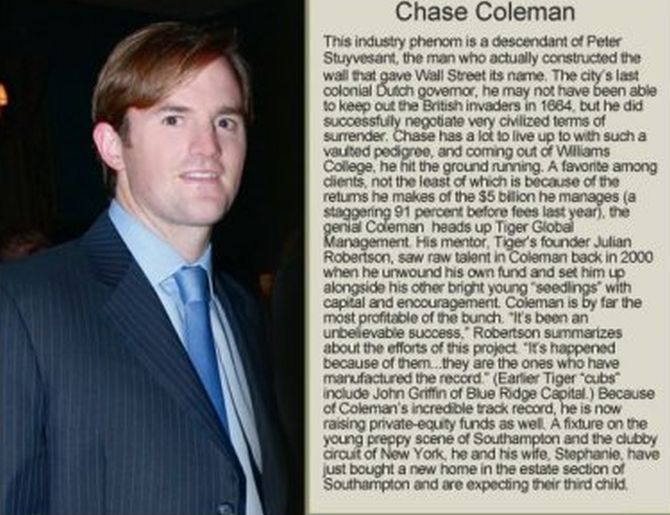 Chase Coleman bio from Hampton Style.