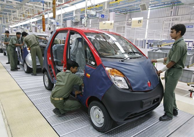 Workers in Tata Motors factory.