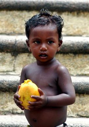 A homeless Indian child holds a mango in Chennai.