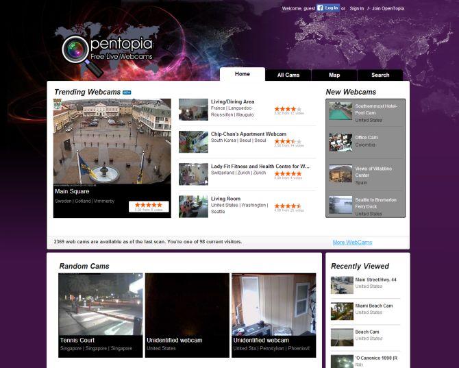 Screenshot of opentopia website.