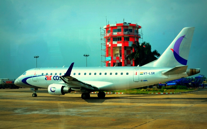 An Air Costa aircraft at Chennai Airport.