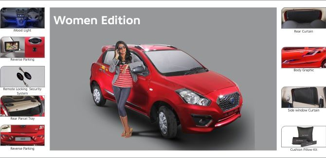 Photo shows accessories included in Datsun GO Women Edition.