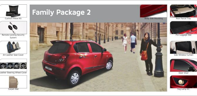 Photo shows accessories included in Datsun Go Family Package 2.