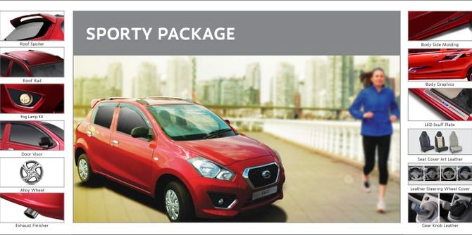 Photo shows accessories included in Datsun Go Sporty Package.