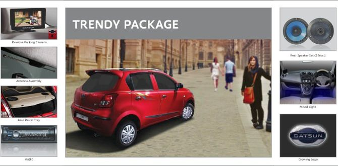Photo shows accessories included in Datsun Go Trendy Package.