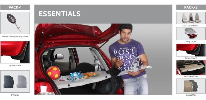 Photo shows accessories included in Datsun Go Essential 1, Essential 2.