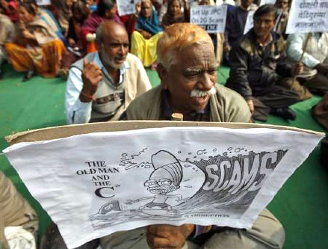 Citizens stage a demonstration against corruption in India.