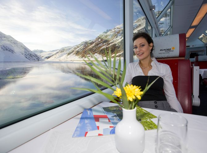 A view from Glacier Express shows winter at Oberalp.