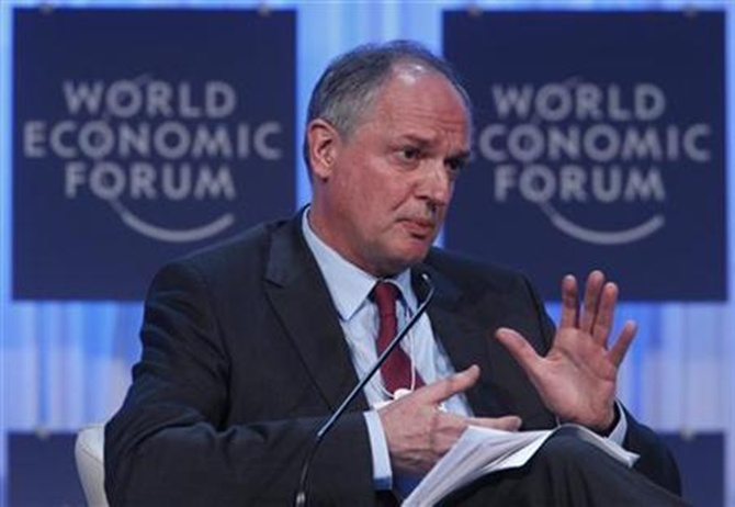 Paul Polman, Chief Executive Officer, Unilever, of Britain, attends a session at the World Economic Forum (WEF) in Davos,