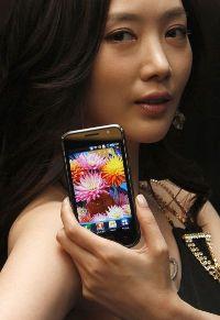 A model displays a smartphone.