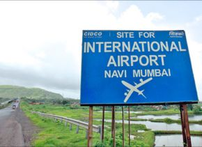 A signboard at the proposed site of the Navi Mumbai International Airport