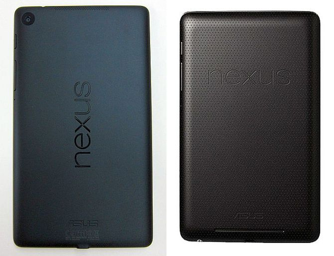 Back cover of nexus 7 2013 (left) and Nexus 7 2012.