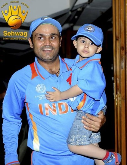 Virender Sehwag with his son.