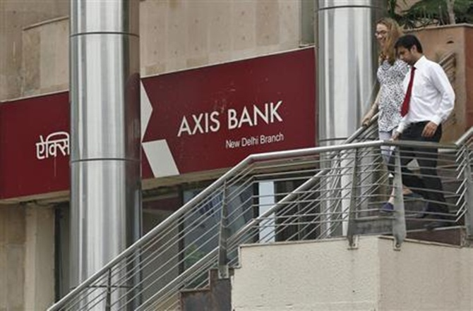 A corporate branch office of Axis Bank in New Delhi.