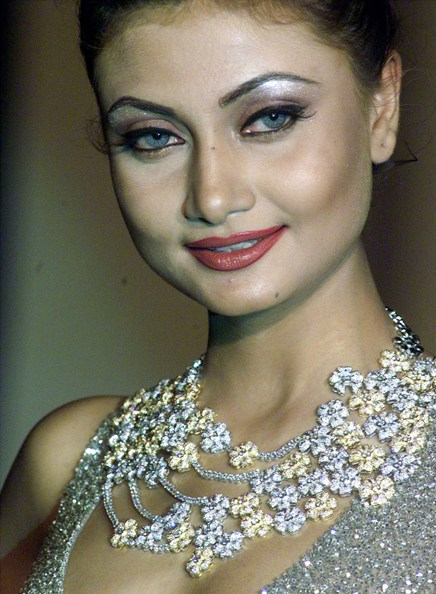 A model displays an award-winning design of diamond jewellery during a fashion show in Kolkata.