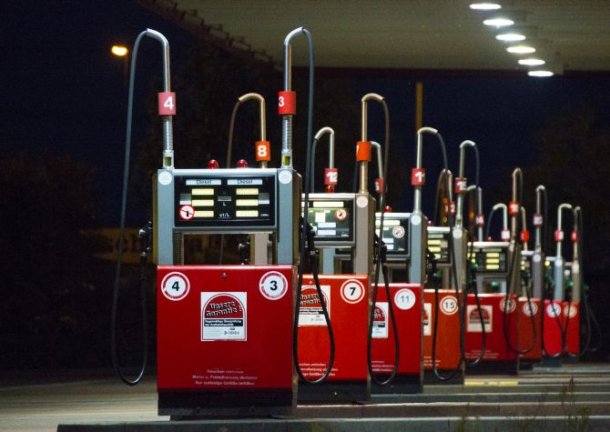 A row of gas pumps is seen at a petrol station after a weekend of record gasoline prizes in Berlin.