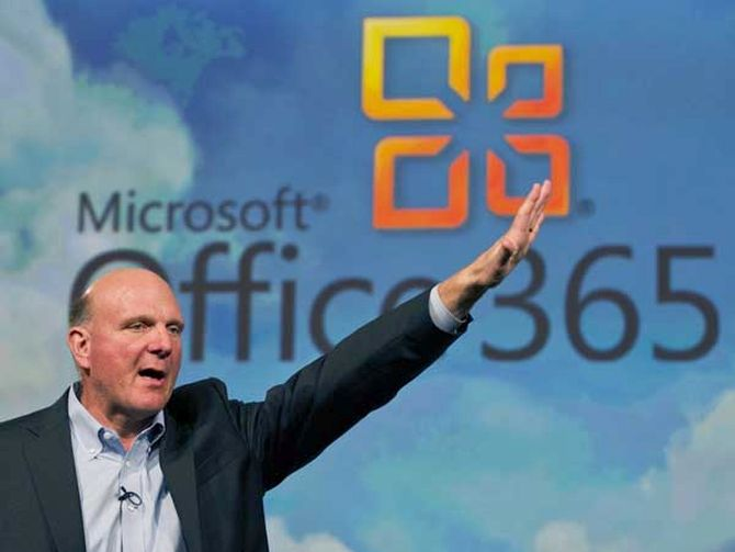 Microsoft's former CEO Steve Ballmer speaks at the launch of the company's Microsoft 365 cloud service in New York.