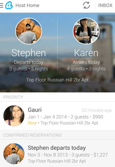 Screen shot of Airbnb app.