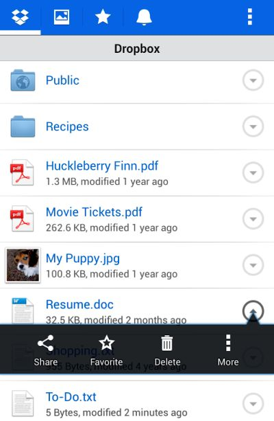 Screenshot of Dropbox app for smartphones.