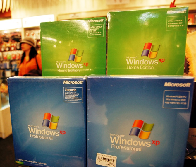 Microsoft Corp's Windows XP software products are displayed at a shop.