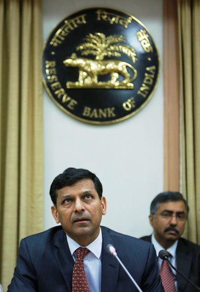 Reserve Bank of India Governor Raghuram Rajan speaks during a news conference.