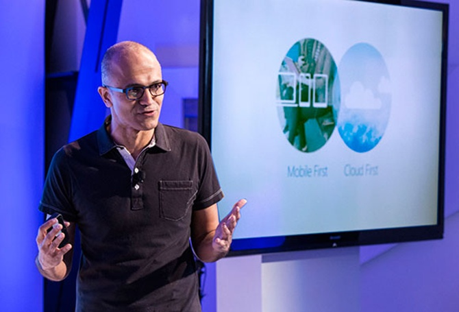 Microsoft CEO Satya Nadella discusses the intersection of cloud and mobile at an event in San Francisco.