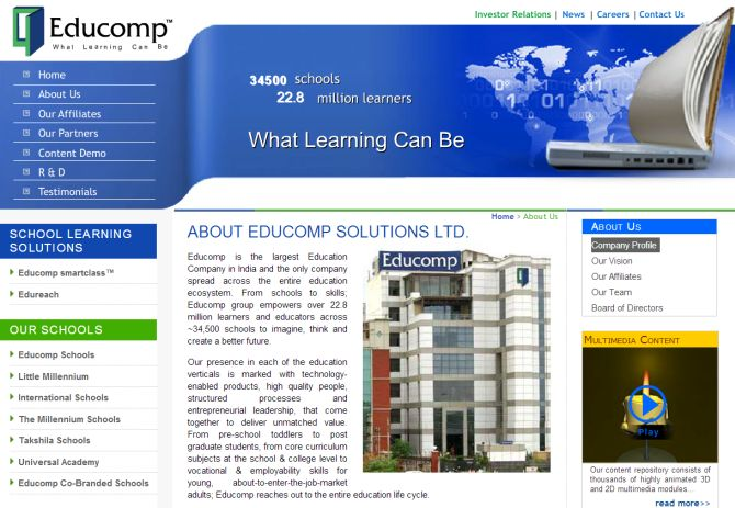 Screenshot of Educomp Solutions' website.
