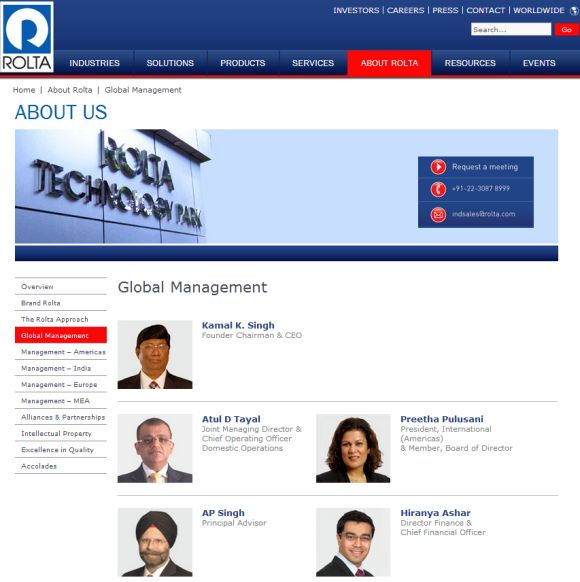 Screenshot of Rolta India's website.