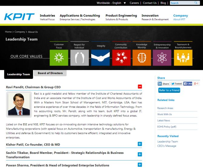 Screenshot of KPIT Technologies' website.