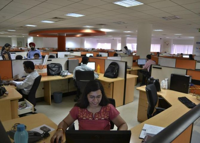 Staff work in an Indian IT company in Bangalore.