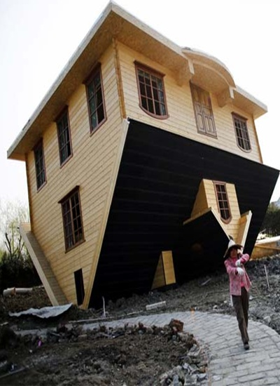 Upside-down house at Fengjing Ancient Town.