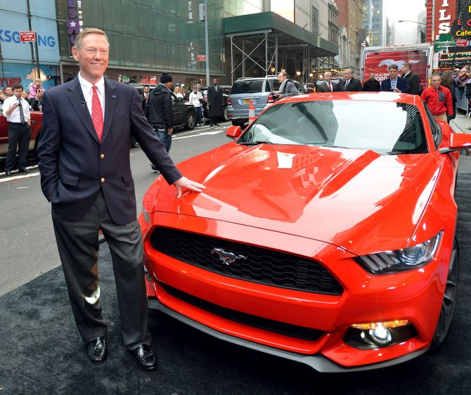 Ford CEO Alan Mulally presents the all-new Ford Mustang in Times Square, New York.