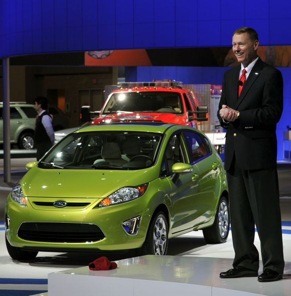 Alan Mulally Ford Motor Company President and CEO delivered the show's opening keynote address next to a 2011 Ford Fiesta.