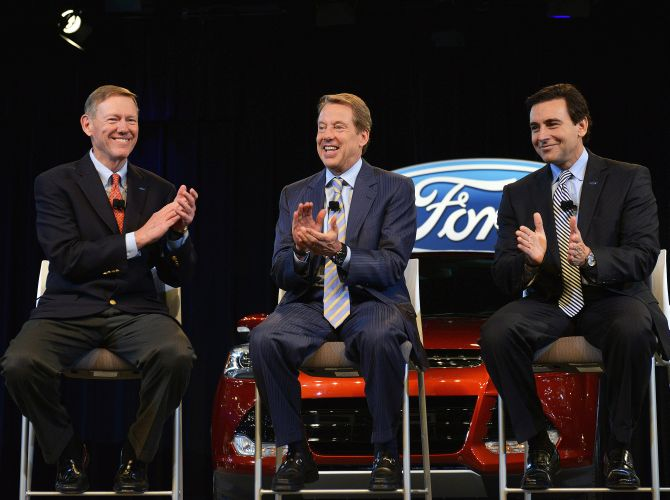 Ford Motor Company Executive Chairman Bill Ford (middle) announced that Alan Mulally (left) has decided to retire from the company July 1, and Mark Fields will be named Ford president and chief executive officer and elected as a member of the company's board of directors.